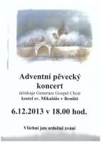 """Pozvánka na """"vánoční koncert"""" v Brništi"""
